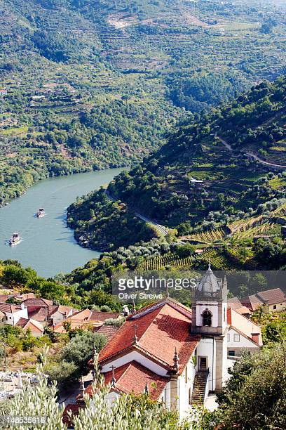 Vineyards and village in Douro River Valley.