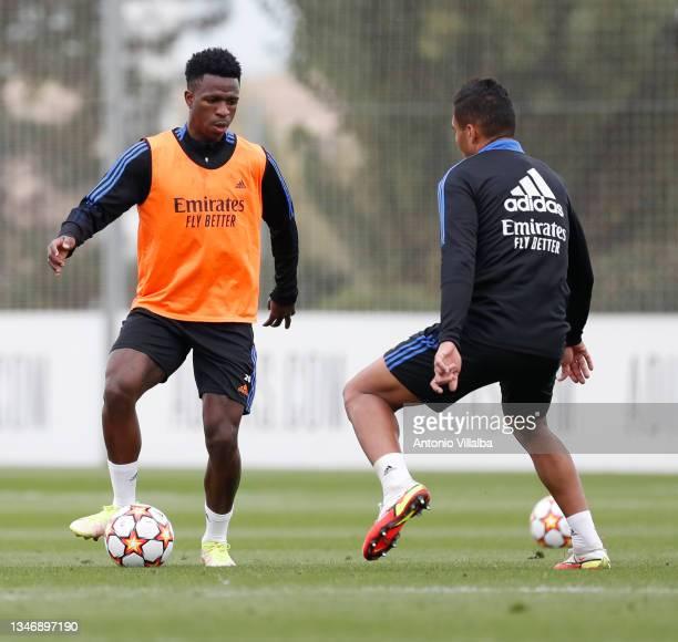 Vini Jr. And Carlos Casemiro of Real Madrid are training at Valdebebas training ground on October 16, 2021 in Madrid, Spain.