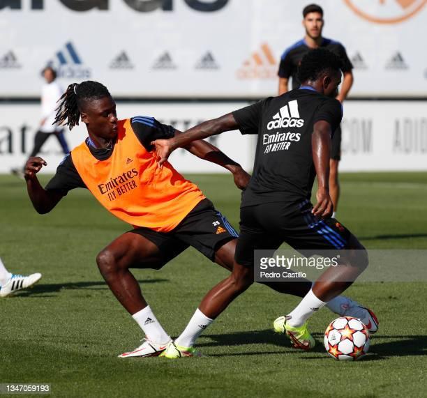 Vini Jr. And Eduardo Camavinga both of Real Madrid during training at Valdebebas training ground on October 17, 2021 in Madrid, Spain.