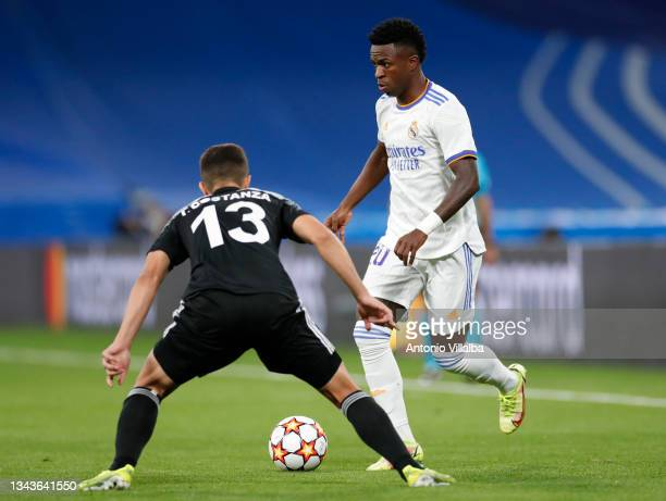 Vini Jr. Of Real Madrid in action during the UEFA Champions League group D match between Real Madrid and FC Sheriff at Estadio Santiago Bernabeu on...