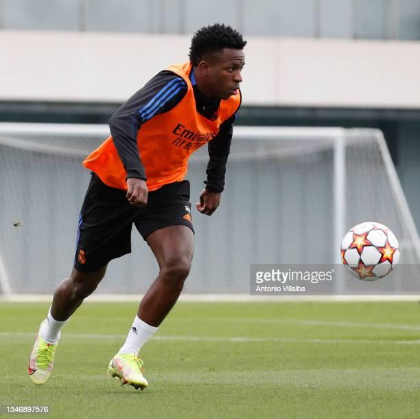 Vini Jr. Of Real Madrid is training at Valdebebas training ground on October 16, 2021 in Madrid, Spain.