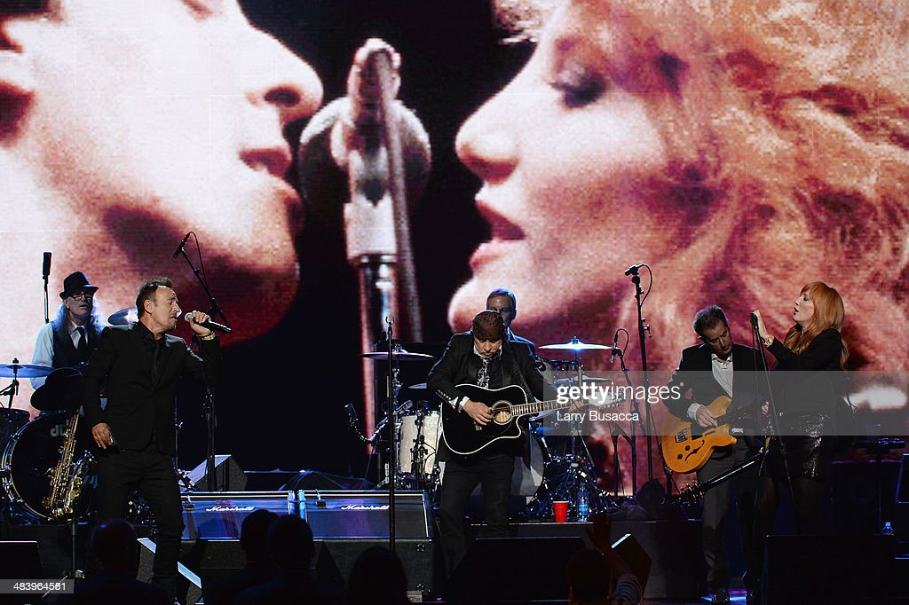 Vini Lopez, Bruce Springsteen, Steve Van Zandt, Max Weinberg, Garry Tallent, and Patti Scialfa perform onstage at the 29th Annual Rock And Roll Hall Of Fame Induction Ceremony at Barclays Center of Brooklyn on April 10, 2014 in New York City.