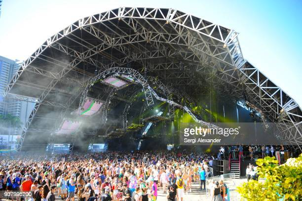 Vini Vici performs on stage at Ultra Music Festival at Bayfront Park on March 25 2018 in Miami Florida