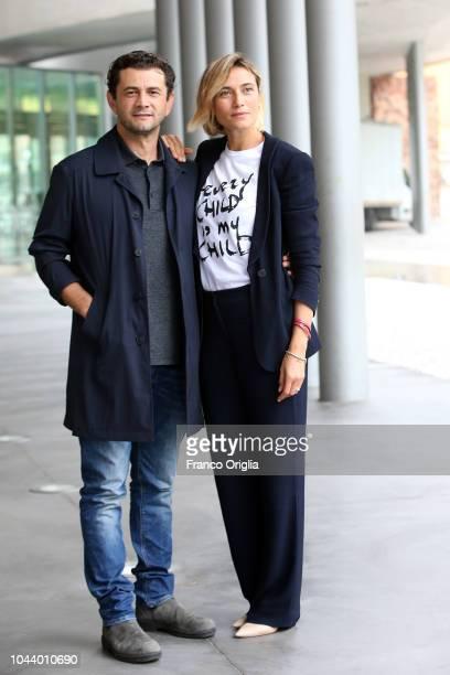 Vinicio Marchioni and Anna Foglietta attend the Alice Nella Città Photocall at the Maxxi Museum on October 1 2018 in Rome Italy