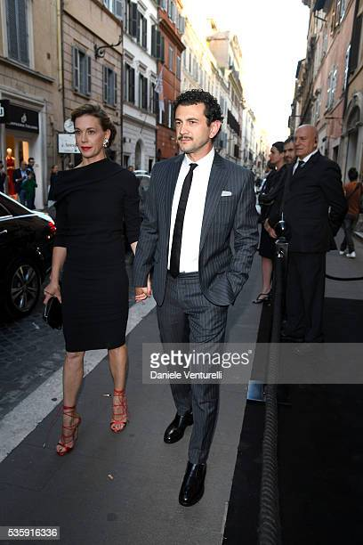 Vinicio Marchioni and Milena Mancini attend Dsquared2 instore cocktail on May 30 2016 in Rome Italy