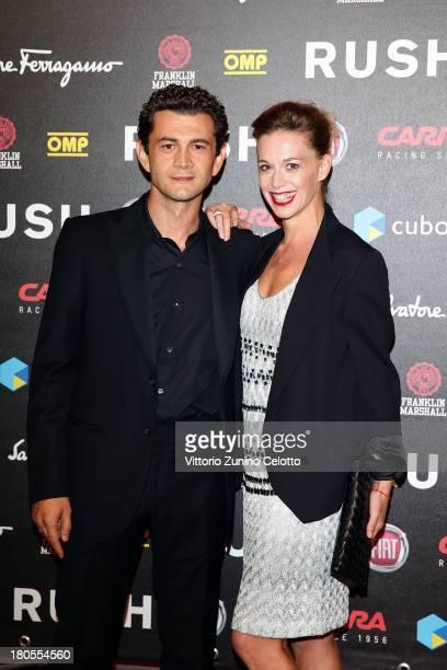 Vinicio Marchioni and Milena Mancini attend 'Rush' The Movie Rome Premiere at Auditorium della Conciliazione on September 14 2013 in Rome Italy
