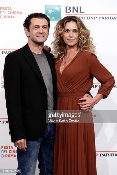 Vinicio Marchioni and Milena Mancini attends the photocall of the movie Il terremoto di Vanja during the 14th Rome Film Festival on October 23 2019...