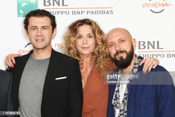 Vinicio Marchioni Milena Mancini and Pepsy Romanoff attends the photocall of the movie Il terremoto di Vanja during the 14th Rome Film Festival on...