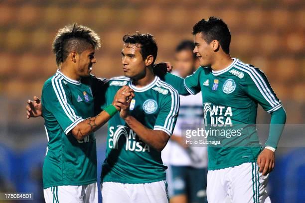 Vinicius and his teammates of Palmeiras celebrates a goal against Icasa during a match between Palmeiras and Icasa as part of the Brazilian...
