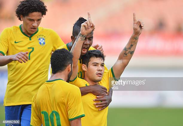 Vinicius Araujo of Brazil celebrates with team mates after scoring an equalising goal during the match between Brazil U22 and Australia U22 on day...