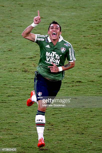 Vinicius celebrates scoring Fluminense's only goal during the Brasileirao Series A 2015 match against Joinville at Maracana Stadium on May 9 2015 in...
