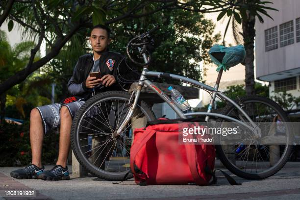 Vinicius de Oliveira 18 years old resident of the Pereira da Silva Community in the Laranjeiras neighborhood poses for a portrait on March 24 2020 in...
