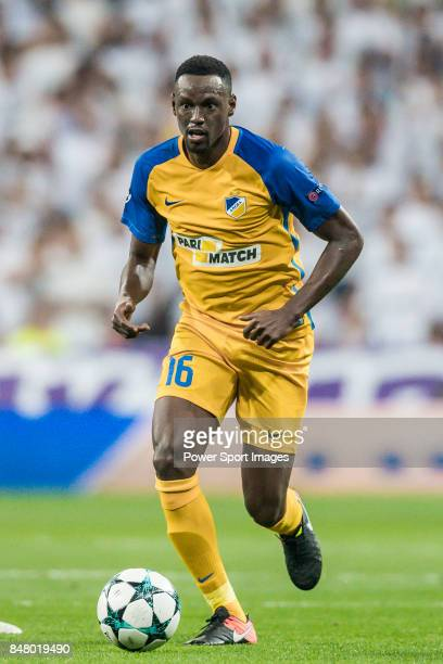 Vinicius de Oliveira Franco of APOEL FC in action during the UEFA Champions League 201718 match between Real Madrid and APOEL FC at Estadio Santiago...