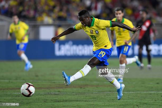 Vinicius Jr. #19 of Brazil kicks the ball in the 2019 International Champions Cup match against Peru on September 10, 2019 in Los Angeles, California.
