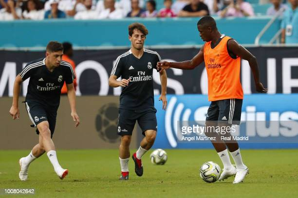 Vinicius Jr Alvaro Odriozola and Federico Valverde of Real Madrid in action during a training session at Hard Rock Stadium on July 30 2018 in Miami...