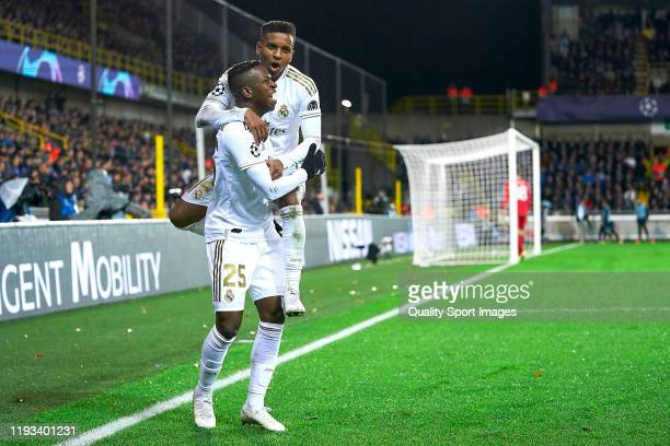 Vinicius Jr and Rodrygo of Real Madrid celebratating a goal during the UEFA Champions League group A match between Club Brugge KV and Real Madrid at...