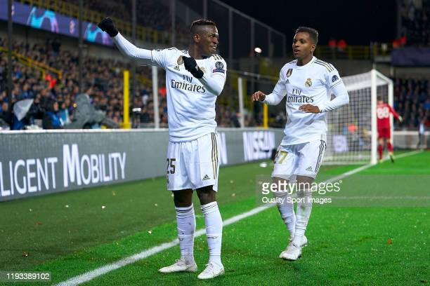 Vinicius Jr and Rodrygo of Real Madrid celebrate a goal during the UEFA Champions League group A match between Club Brugge KV and Real Madrid at Jan...