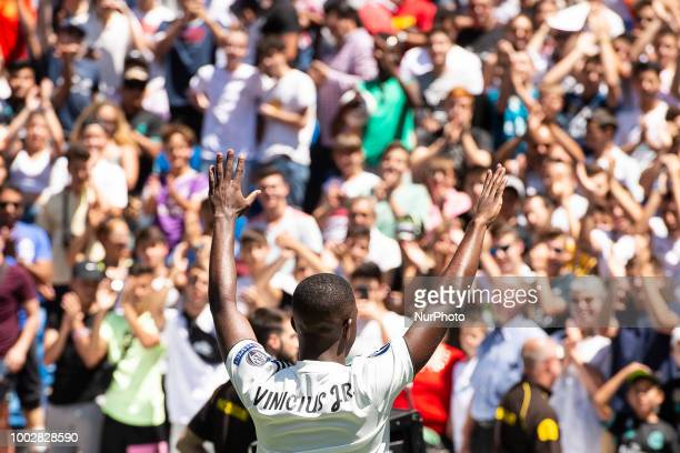 Vinicius Jr during his presentation as new Real Madrid player at Santiago Bernabéu Stadium in Madrid Spain July 20 2018