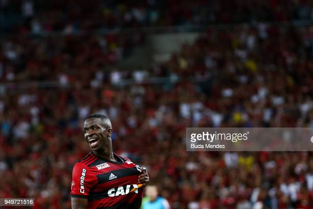 Vinicius Jr of Flamengo celebrates a scored goal made by Henrique Dourado during a match between Flamengo and America MG as part of Brasileirao...