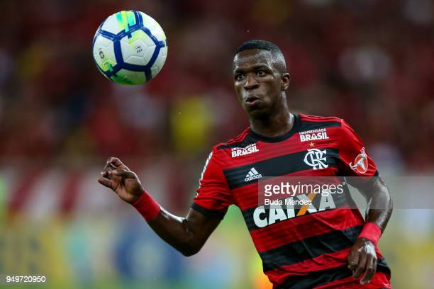 Vinicius Jr of Flamengo controls the ball during a match between Flamengo and America MG as part of Brasileirao Series A 2018 at Maracana Stadium on...