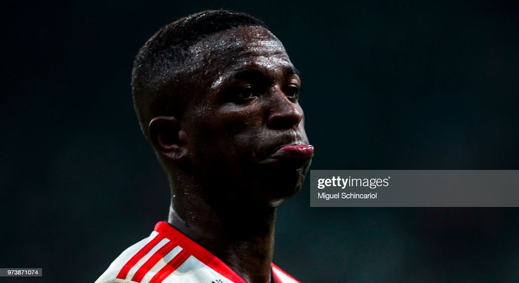 Vinicius Jr of Flamengo reacts during a match between Palmeiras and Flamengo for the Brasileirao Series A 2018 at Allianz Parque Stadium on June 13, 2018 in Sao Paulo, Brazil.