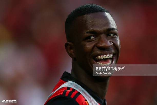 Vinicius Jr of Flamengo smiles during a match between Flamengo and Atletico MG part of Brasileirao Series A 2017 at Maracana Stadium on May 13 2017...