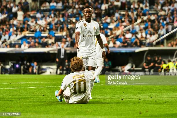 Vinicius Jr. Of Real Madrid and Modric of Real Madrid during the UEFA Champions League group A match between Real Madrid and Club Brugge KV at at the...