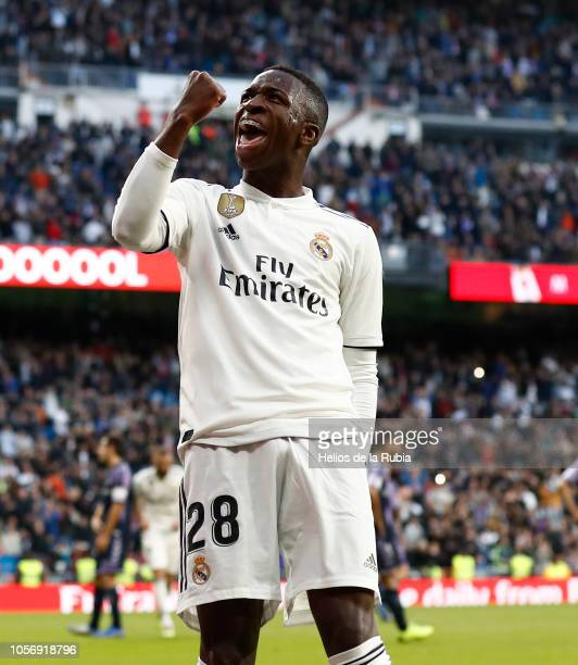 NOVEMBER 2018 Vinicius JR of Real Madrid celebrates after scoring during the La Liga match between Real Madrid CF and Real Valladolid CF at Estadio...