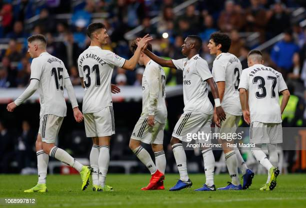 Vinicius Jr of Real Madrid celebrates with Javi Sanchez after scoring their team's fifth goal during the Copa del Rey fourth round second leg match...