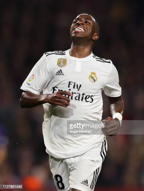 Vinicius JR of Real Madrid CF reacts during the Copa del Semi Final first leg match between Barcelona and Real Madrid at Nou Camp on February 06 2019...