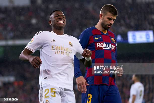 Vinicius Jr of Real Madrid CF reacts during the Liga match between Real Madrid CF and FC Barcelona at Estadio Santiago Bernabeu on March 01 2020 in...