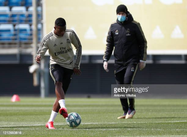 Vinicius Jr of Real Madrid during a first training session since the Covid19 pandemic at Valdebebas training ground on May 11 2020 in Madrid Spain