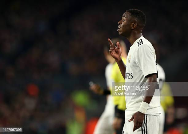 Vinicius Jr of Real Madrid gestures during the Copa del Rey Semi Final match between FC Barcelona and Real Madrid at Nou Camp on February 06 2019 in...