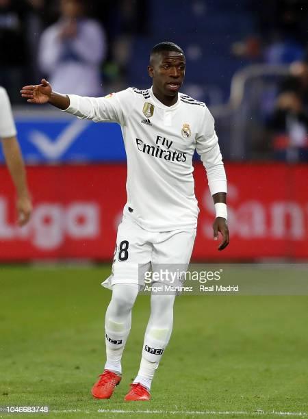 Vinicius Jr of Real Madrid gestures during the La Liga match between Deportivo Alaves and Real Madrid at Estadio de Mendizorroza on October 06 2018...