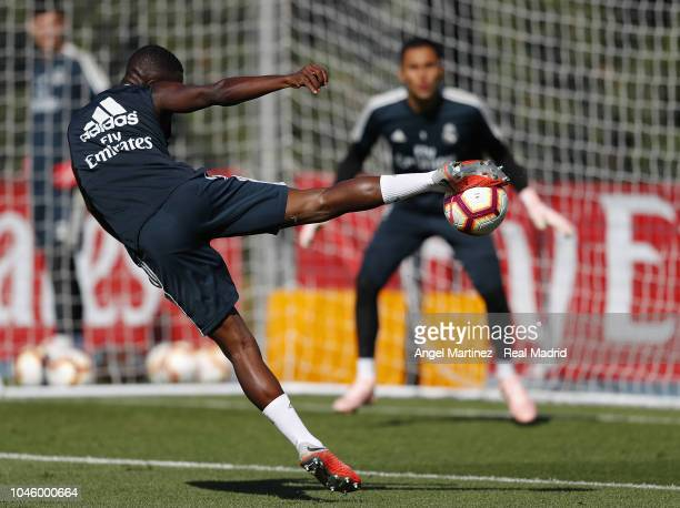Vinicius Jr of Real Madrid in action during a training session at Valdebebas training ground on October 5 2018 in Madrid Spain