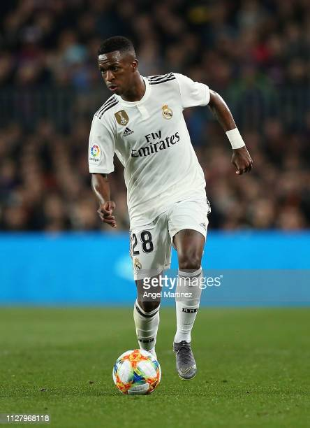 Vinicius Jr of Real Madrid in action during the Copa del Rey Semi Final match between FC Barcelona and Real Madrid at Nou Camp on February 06 2019 in...