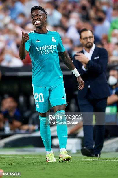 Vinicius Jr of Real Madrid looks on during the La Liga Santander match between Valencia CF and Real Madrid CF at Estadio Mestalla on September 19,...