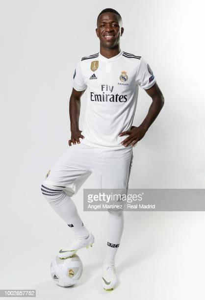 Vinicius Jr of Real Madrid poses during his official presentation at Santiago Bernabeu stadium on July 20 2018 in Madrid Spain