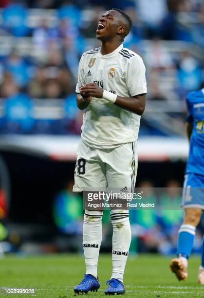 Vinicius Jr of Real Madrid reacts during the Copa del Rey fourth round second leg match between Real Madrid and Melilla at Estadio Santiago Bernabeu...