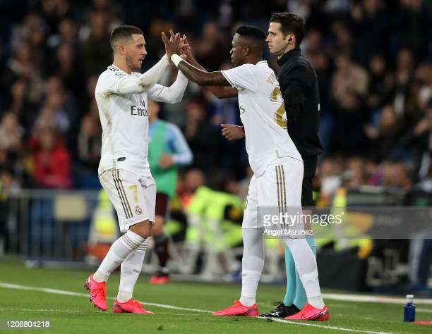 Vinicius Jr of Real Madrid replaces Eden Hazard during the Liga match between Real Madrid CF and RC Celta de Vigo at Estadio Santiago Bernabeu on...
