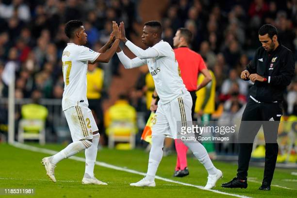 Vinicius Jr of Real Madrid substitution Rodrygo Goes of Real Madrid during the Liga match between Real Madrid CF and Real Betis Balompie at Estadio...