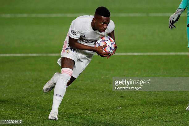 Vinicius Junior celebrates 23 during the UEFA Champions League match between Real Madrid v Shakhtar Donetsk at the Estadio Alfredo Di Stefano on...