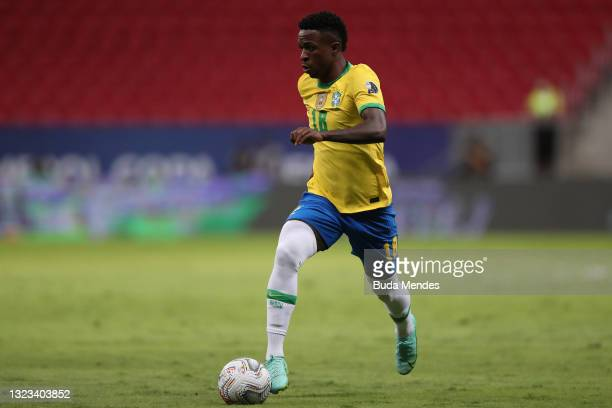 Vinicius Junior of Brazil controls the ball during a Group B match between Brazil and Venezuela as part of Copa America 2021 at Mane Garrincha...