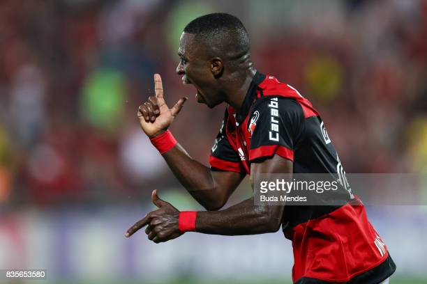 Vinicius Junior of Flamengo celebrates a scored goal during a match between Flamengo and Atletico GO part of Brasileirao Series A 2017 at Ilha do...