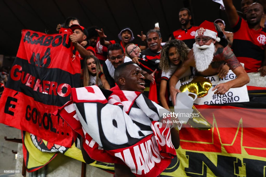 Vinicius Junior of Flamengo celebrates the victory after a match between Flamengo and Botafogo part of Copa do Brasil Semi-Finals 2017 at Maracana Stadium on August 23, 2017 in Rio de Janeiro, Brazil.