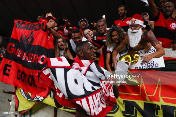 Vinicius Junior of Flamengo celebrates the victory after a match between Flamengo and Botafogo part of Copa do Brasil SemiFinals 2017 at Maracana...