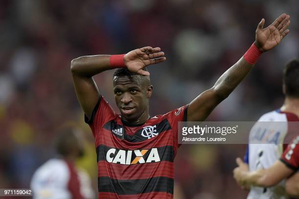 Vinicius Junior of Flamengo celebrates the victory in the match between Flamengo and Parana Clube as part of Brasileirao Series A 2018 at Maracana...