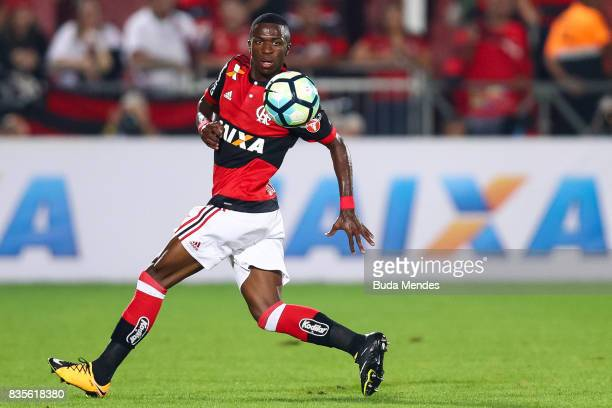Vinicius Junior of Flamengo controls the ball during a match between Flamengo and Atletico GO part of Brasileirao Series A 2017 at Ilha do Urubu...