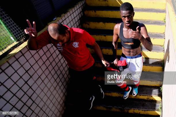 Vinicius Junior of Flamengo gestures after a match between Flamengo and Botafogo as part of Brasileirao Series A 2017 at Raulino de Oliveira Stadium...