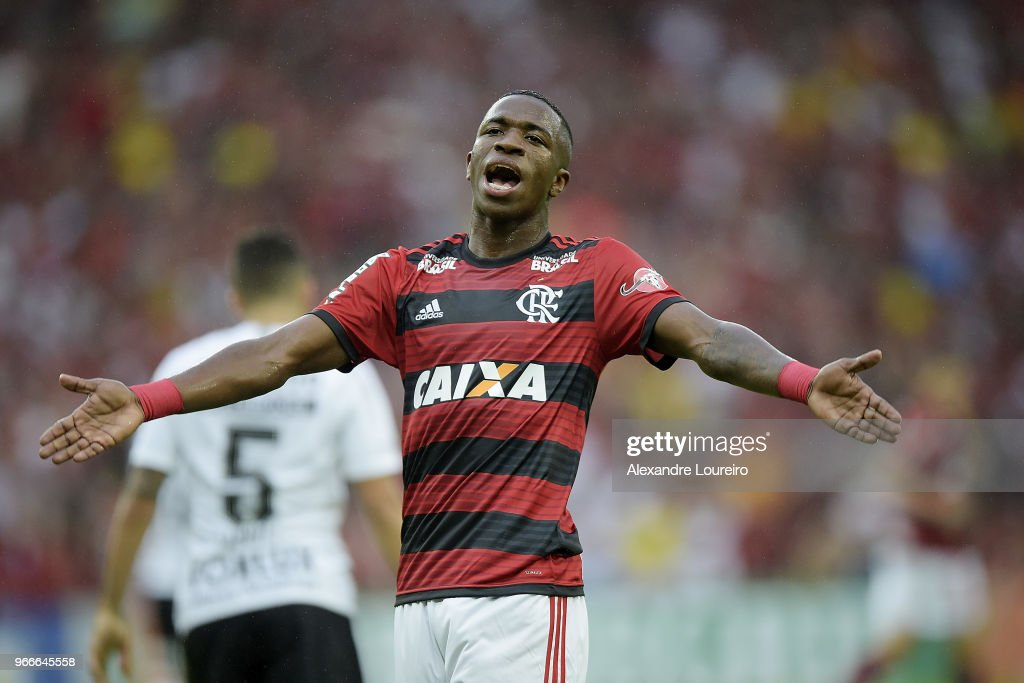Vinicius Junior of Flamengo reacts during the match between Flamengo and Corinthians as part of Brasileirao Series A 2018 at Maracana Stadium on June 03, 2018 in Rio de Janeiro, Brazil.